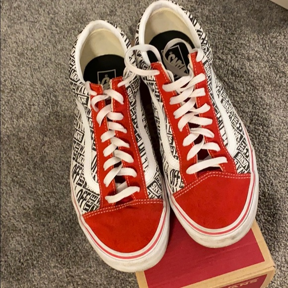 vans off the wall shoes red and black